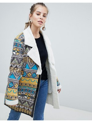 Oeuvre Printed Coat With Fleece Lining