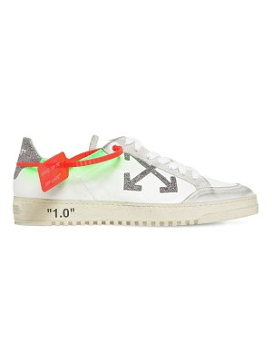 OFF WHITE 20mm arrow leather & glitter sneakers