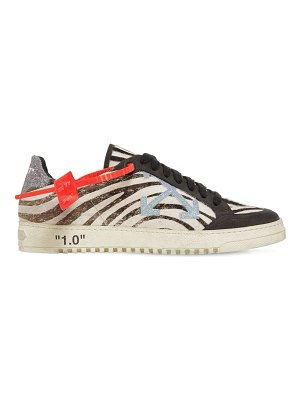 OFF WHITE 20mm arrow zebra ponyskin sneakers