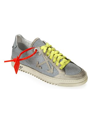 OFF-WHITE Arrow 2 Glittered Low-Top Distressed Sneakers