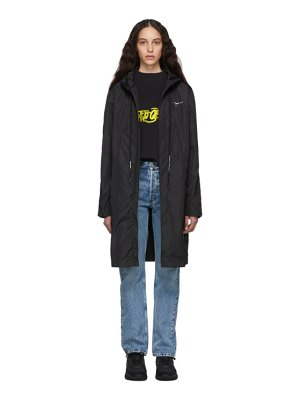 OFF-WHITE black and silver unfinished raincoat