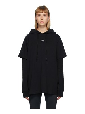 OFF-WHITE black double t-shirt stencil hoodie