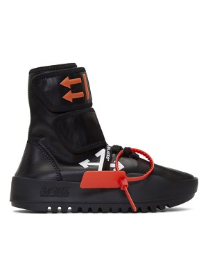 OFF-WHITE black leather moto wrap high-top sneakers