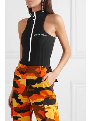 OFF-WHITE cannettè zip-detailed ribbed printed swimsuit