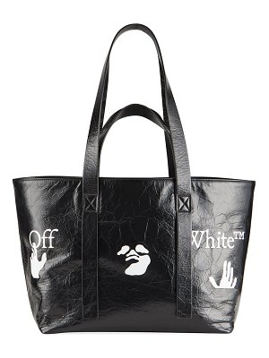 OFF-WHITE Commercial 45 Graphic-Print Crinkled Leather Tote Bag