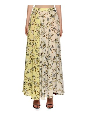 OFF-WHITE Floral-Patchwork Maxi Skirt