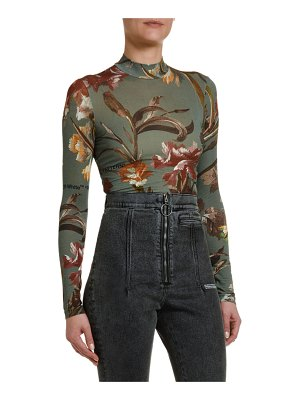 OFF-WHITE Floral-Print Jersey Turtleneck Top