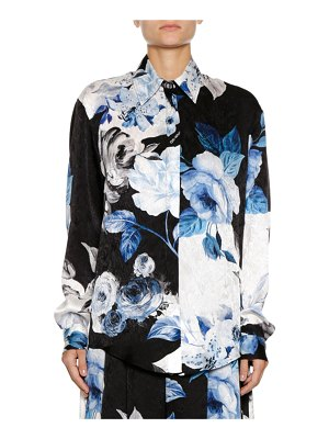 OFF-WHITE Floral-Print Silk Button-Front Blouse