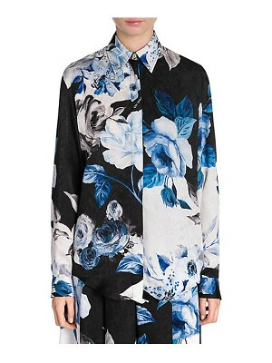 OFF-WHITE floral silk button-down shirt