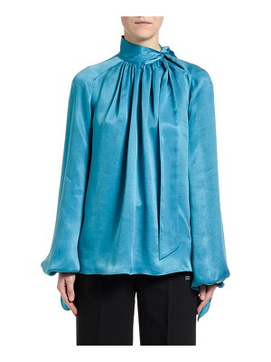 OFF-WHITE Flowing Satin Full-Sleeve Tie-Neck Blouse