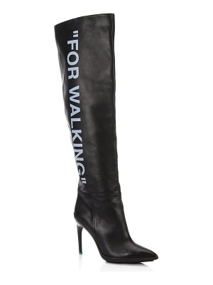 OFF-WHITE for walking tall printed leather boots