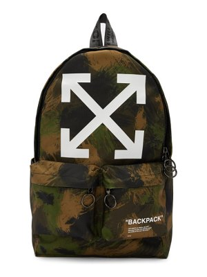 OFF-WHITE green camo quote backpack