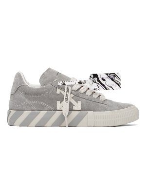 OFF-WHITE grey suede vulcanized low sneakers