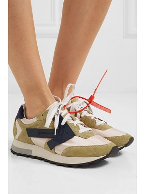 OFF-WHITE hg runner appliquéd suede and shell sneakers