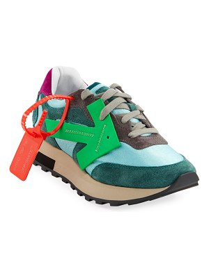 OFF-WHITE HG Runner Brilliant Colorblock Suede Arrow Sneakers