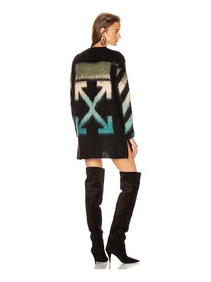 OFF-WHITE intarsia mohair crewneck sweater