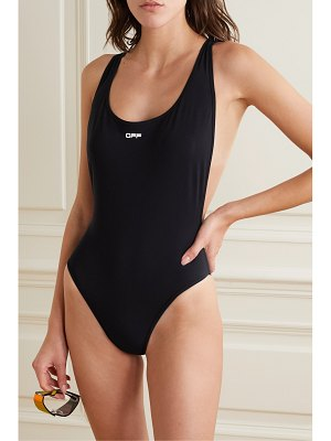 OFF-WHITE jacquard-trimmed swimsuit