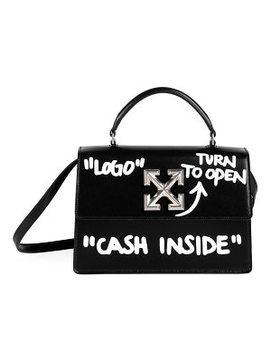 OFF-WHITE jitney 1.0 cash inside leather top handle bag