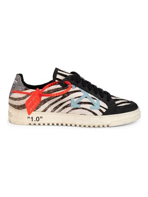 OFF-WHITE low-top zebra arrow leather sneakers
