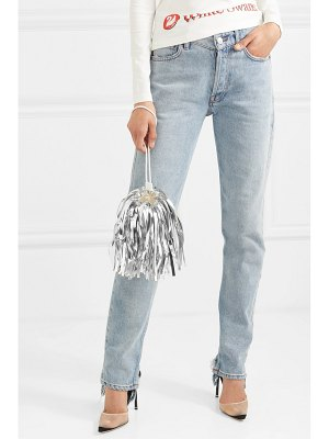 OFF-WHITE metallic fringed faux suede and pvc clutch