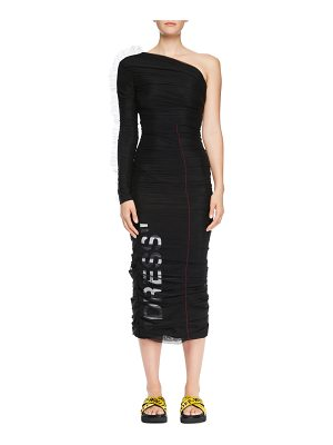 OFF-WHITE One-Shoulder Ruched Tulle Dress with Print