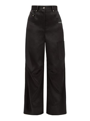OFF-WHITE patch pocket satin wide leg trousers