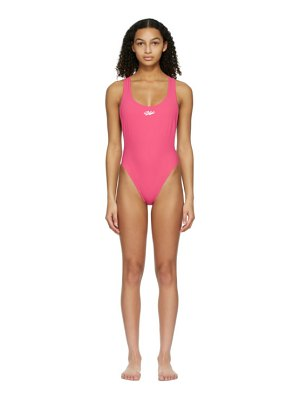 OFF-WHITE pink logo tape one-piece swimsuit