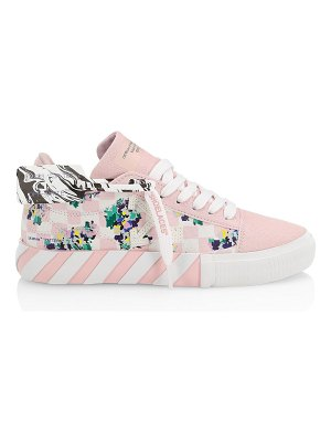 OFF-WHITE printed checkered canvas vulcanized sneakers