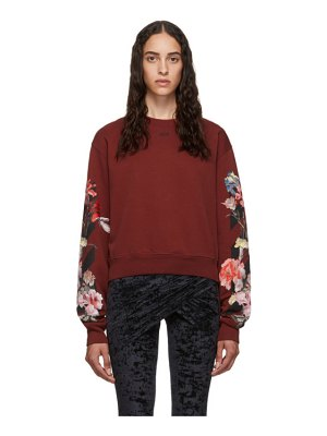 OFF-WHITE red cropped flowers sweatshirt