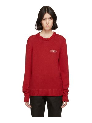OFF-WHITE red knit logo crewneck sweater