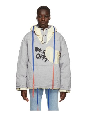 OFF-WHITE reversible grey and red puffer jacket