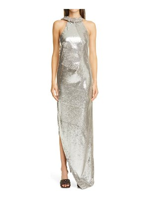 OFF-WHITE sequin asymmetrical gown