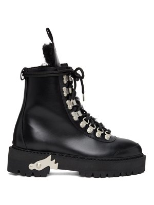 OFF-WHITE shearling and leather hiking boots