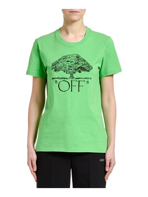 OFF-WHITE Short-Sleeve Tree Graphic Casual Tee