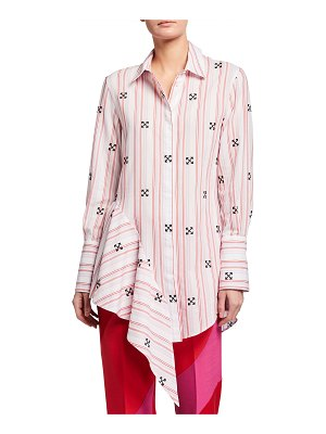OFF-WHITE Stripe Print Embroidered Arrow Belted Asymmetric Shirtdress