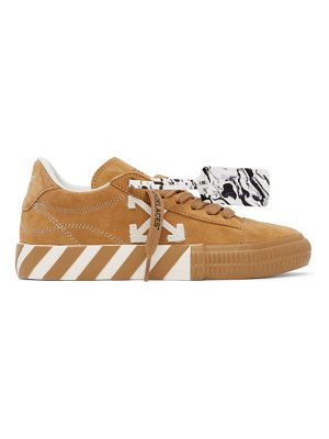 OFF-WHITE tan suede vulcanized low sneakers