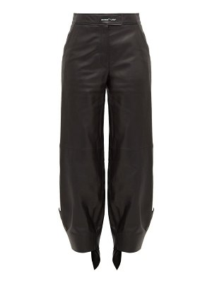 OFF-WHITE tie cuff leather trousers