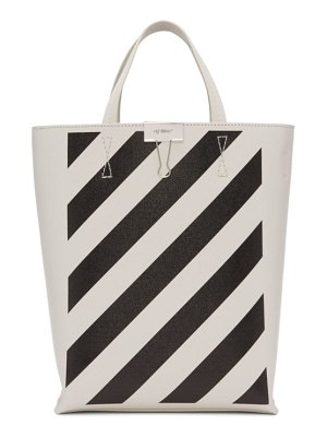 OFF-WHITE white and black diag tote