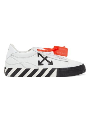 OFF-WHITE white and black leather vulcanized low sneakers