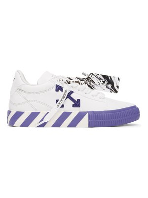 OFF-WHITE white and purple vulcanized low sneakers