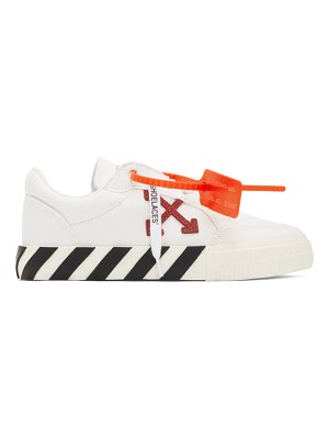 OFF-WHITE white and purple vulcanized low-top sneakers