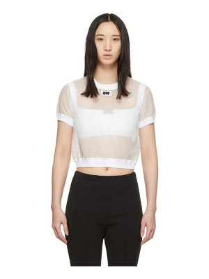 OFF-WHITE white cropped t-shirt