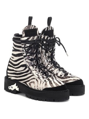 OFF-WHITE zebra-effect calf hair ankle boots
