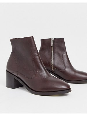 Office alford block heel leather ankle boots in chocolate-brown