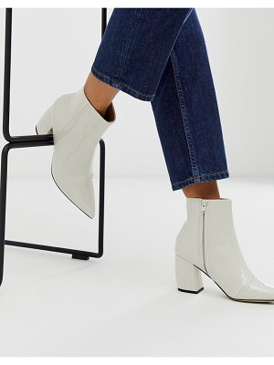 Office aloud pointed block heel ankle boots in off white-cream