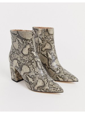 Office aloud pointed block heel ankle boots in snake-multi