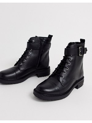 Office alpaca black leather lace up flat hiker boots