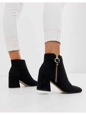 Office anthea suedette mid heeled ankle boots with side zip detail-black
