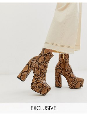 Office exclusive another level brown snake platform heeled ankle boots-multi