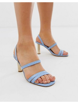 Office masquerade pale blue croc mix strappy heeled sandals with gold cylinder heel